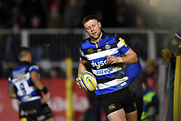 Rhys Priestland of Bath Rugby looks on after scoring a try. Aviva Premiership match, between Bath Rugby and Wasps on December 29, 2017 at the Recreation Ground in Bath, England. Photo by: Patrick Khachfe / Onside Images