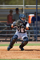 New York Yankees catcher Hemmanual Rosario (15) warmup throw down to second during an Instructional League game against the Baltimore Orioles September 23, 2017 at the Yankees Minor League Complex in Tampa, Florida.  (Mike Janes/Four Seam Images)