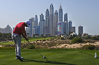 Lucas Herbert (AUS) on the 8th tee during Round 3 of the Omega Dubai Desert Classic, Emirates Golf Club, Dubai,  United Arab Emirates. 26/01/2019<br /> Picture: Golffile | Thos Caffrey<br /> <br /> <br /> All photo usage must carry mandatory copyright credit (© Golffile | Thos Caffrey)