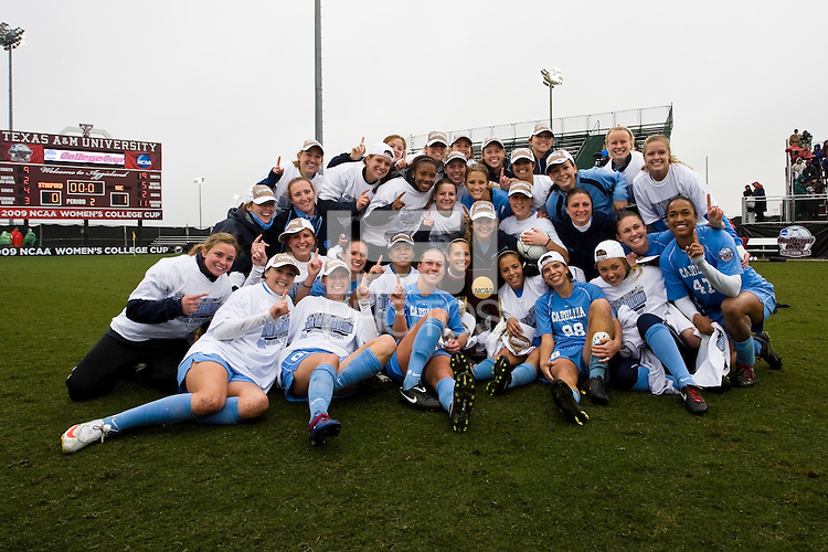 The North Carolina Tar Heels celebrate their championship. North Carolina defeated Stanford 1-0 to win the 2009 NCAA Women's College Cup at the Aggie Soccer Stadium in College Station, TX on December 6, 2009.