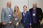 Stewart F. Lane, Bonnie Comley, Hal Berman and Gio Messale attends the BroadwayHD panel discussion at Broadwaycom 2018 on January 26, 2018 at Jacob Javitz Center in New York City.