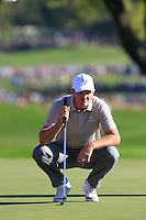 Justin Rose (Team Europe) on the 9th green during Saturday afternoon Fourball at the Ryder Cup, Hazeltine National Golf Club, Chaska, Minnesota, USA.  01/10/2016<br /> Picture: Golffile | Fran Caffrey<br /> <br /> <br /> All photo usage must carry mandatory copyright credit (&copy; Golffile | Fran Caffrey)