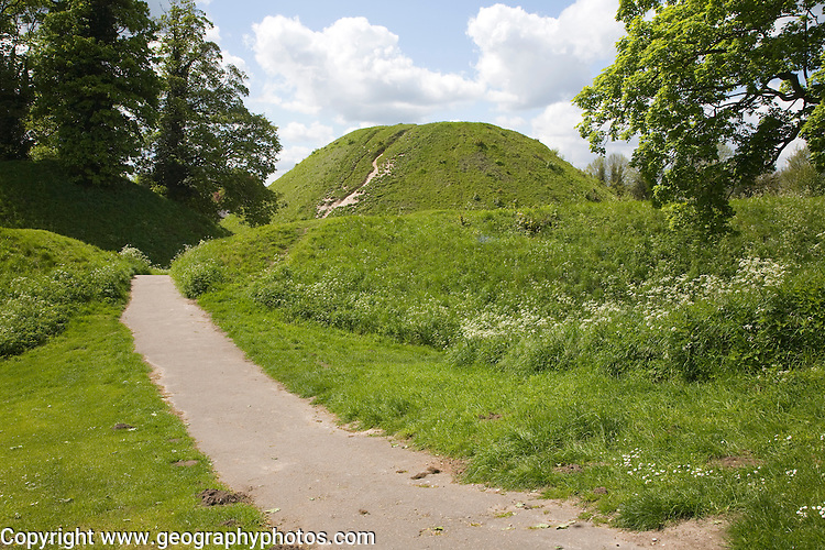 Thetford mound, a medieval motte and bailey castle, Thetford, Norfolk, England