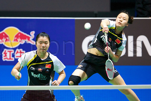 11.03.2012 Birmingham, England. Tian Qing (CHN) and Zhao Yuniel (CHN) in action during the Yonex All England Open Badminton Championships at the National Indoor Arena.