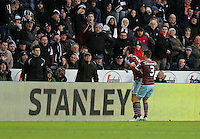 Pictured: Andy Carroll (L) of West Ham celebrating his opening goal Saturday 10 January 2015<br />