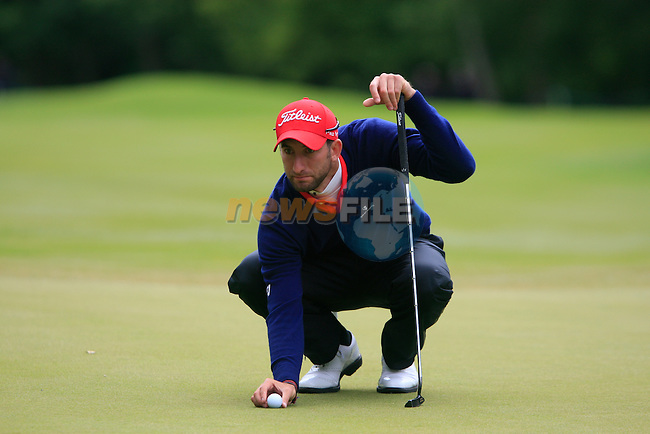 Seve Benson (ENG) lines up his putt on the 6th green during Day 3 of the BMW PGA Championship Championship at, Wentworth Club, Surrey, England, 28th May 2011. (Photo Eoin Clarke/Golffile 2011)