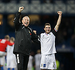 Terry Butcher at full-time with Graeme Shinnie after knocking Rangers out of the League Cup