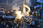 08.11.2018, BayArena, Leverkusen, Europaleque, Vorrunde, GER, UEFA EL, Bayer 04 Leverkusen (GER) vs. FC Zuerich (SUI),<br />  <br /> DFL regulations prohibit any use of photographs as image sequences and/or quasi-video<br /> <br /> im Bild / picture shows: <br /> trotz Sieglosigkeit freuen sich die Zuericher Fans Pyrotechnik, Feuerwerk, Rauch, Gefahr, Feuer, Leuchtfeuer, Kurzve    <br /> <br /> Foto &copy; nordphoto / Meuter<br /> <br /> <br /> <br /> Foto &copy; nordphoto / Meuter