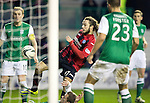 Hibs v St Johnstone....21.12.13    SPFL<br /> Stevie May is blocked on the line<br /> Picture by Graeme Hart.<br /> Copyright Perthshire Picture Agency<br /> Tel: 01738 623350  Mobile: 07990 594431