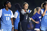 18 October 2012: UNC's Adelaide Gay (33) organizes her defenders. The University of North Carolina Tar Heels defeated the Duke University Blue Devils 2-0 at Koskinen Stadium in Durham, North Carolina in a 2012 NCAA Division I Women's Soccer game.