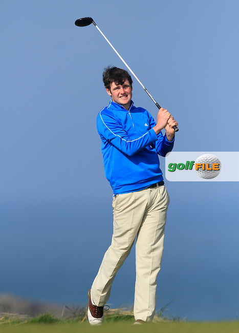 Jake Whelan (Newlands) during Round 1 of the 54 hole Stroke Play on April 10th  2015 for the 2015 Munster Youths' Open Championship, Tralee Golf Club, Tralee, Co.Kerry Ireland.<br /> Picture: Thos Caffrey / Golffile