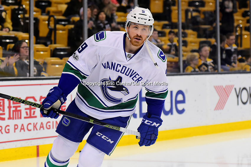 February 11, 2017: Vancouver Canucks right wing Jack Skille (9) warms up before the National Hockey League game between the Vancouver Canucks and the Boston Bruins held at TD Garden, in Boston, Mass. Boston defeats Vancouver 4-3 in regulation time. Eric Canha/CSM
