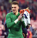 Manchester City goalkeeper Ederson thanks the fans at the end of the premier league match at the Wembley Stadium, London. Picture date 14th April 2018. Picture credit should read: Robin Parker/Sportimage