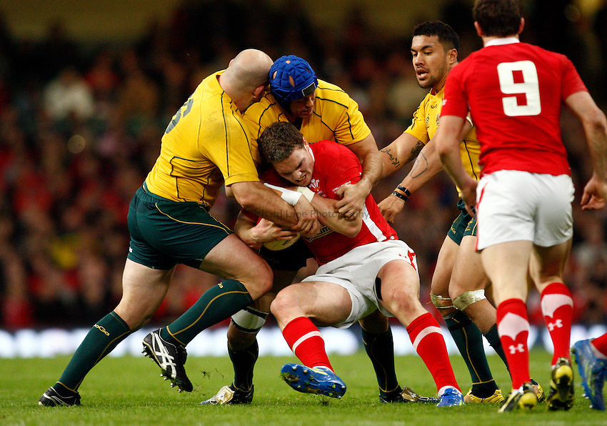 Photo: Richard Lane/Richard Lane Photography. Wales v Australia. Autumn International. 03/12/2011. Wales'George North is tackled.