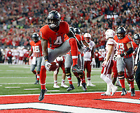 Ohio State Buckeyes running back Curtis Samuel (4) celebrates his touchdown catch against Nebraska Cornhuskers in the 1st half of their game in Ohio Stadium on November 5, 2016.  (Kyle Robertson / The Columbus Dispatch)
