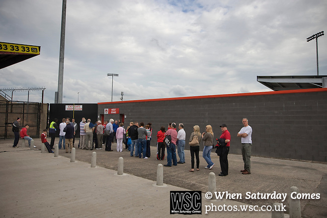 Crusaders 1 Fulham 3, 16/07/2011. Seaview Park, Europa League 2nd qualifying round first leg. Fans queueing at the turnstiles at Seaview Park, Belfast before Northern Irish club Crusaders take on Fulham in a UEFA Europa League 2nd qualifying round, first leg match. The visitors from England won by 3 goals to 1 before a crowd of 3011. Photo by Colin McPherson.