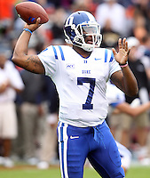 Duke quarterback Anthony Boone (7) Duke defeated Virginia 35-22 at Scott Stadium in Charlottesville, VA. . Photo/Andrew Shurtleff