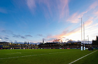 A general view of the Recreation Ground pitch during the match. Gallagher Premiership match, between Bath Rugby and Leicester Tigers on December 30, 2018 at the Recreation Ground in Bath, England. Photo by: Patrick Khachfe / Onside Images