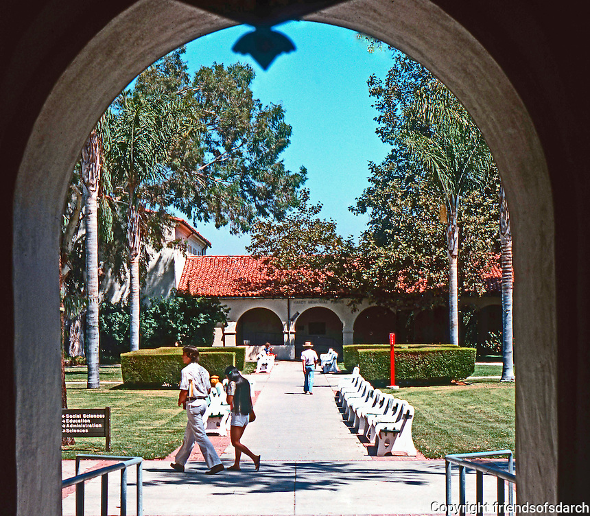 Mission Revival: San Diego State.  WPA project--benches. (Photo 1978)