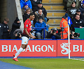 3rd February 2019, King Power Stadium, Leicester, England; EPL Premier League Football, Leicester City versus Manchester United; Marcus Rashford of Manchester United  celebrates the opening goal in the 9th minute
