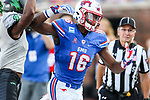 Southern Methodist Mustangs wide receiver Courtland Sutton (16) in action during the game between the North Texas Mean Green and the SMU Mustangs at the Gerald J. Ford Stadium in Fort Worth, Texas.