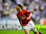 Ryan Giggs celebrates scoring during the Premier League match at The JJB Stadium, Wigan. Picture date 11th May 2008. Picture credit should read: Simon Bellis/Sportimage