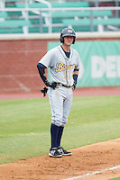 Jake Hager (2) of the Montgomery Biscuits takes his lead off of third base against the Chattanooga Lookouts at AT&T Field on July 23, 2014 in Chattanooga, Tennessee.  The Lookouts defeated the Biscuits 6-5. (Brian Westerholt/Four Seam Images)