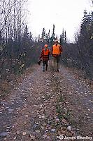 Hunters carrying ruffed grouse down bush road