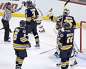 Jeff Bunyon doesn't want to hear Healey's protest of Bertram's goal - Boston College defeated Merrimack College 3-0 with Tim Filangieri's first two collegiate goals on November 26, 2005 at Kelley Rink/Conte Forum in Chestnut Hill, MA.