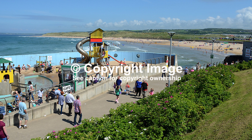 GV, general view, Arcadia, children's play area, East Strand, Portrush, Co Antrim, N Ireland, UK. 201406213170<br />