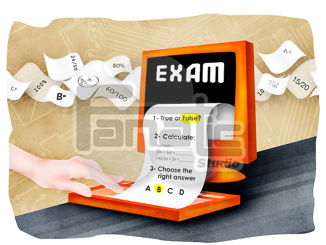Exam paper with desktop PC