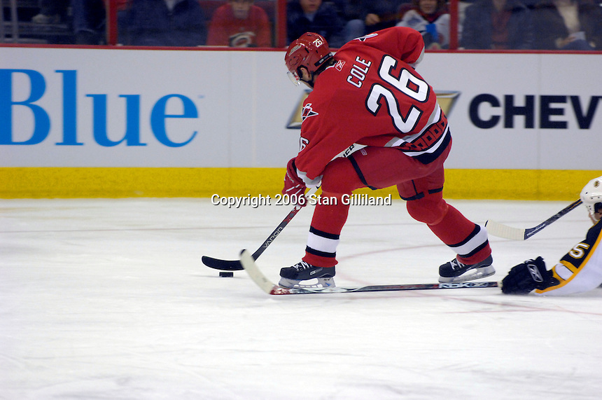 Carolina Hurricane's Erik Cole (26) on a breakaway against the Boston Bruins during an NHL hockey game Saturday, Dec. 2, 2006 in Raleigh, N.C. Carolina won 5-2.<br />