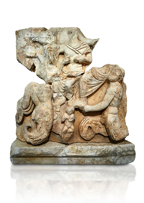 Roman Sebasteion relief  sculpture of Poseidon and Amphitrite,  Aphrodisias Museum, Aphrodisias, Turkey.   Against a white background.<br /> <br /> The two god-like tritons, Poseidon and Amphitrite, are seated on two sea horses accompanied by two fish legged tritons below. Between the tritons sits a sea-putto of baby triton. The male god is in the form of Poseidon crowned by his wife Amphitrite. Unusually he wears a military cloak and they might be an emperor and his wife (such as Claudius and Agrippina) in the guise of Poseidon and Amphitrite