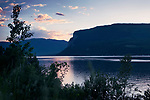 Shuswap Lake beautiful sunset landscape nature scenery with dramatic colors. BC, British Columbia, Canada.