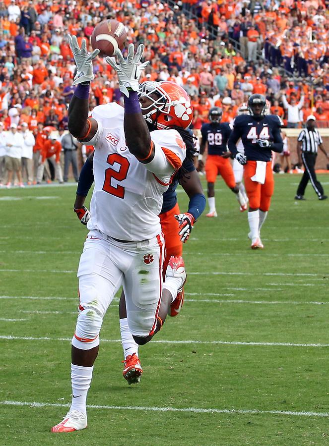 Clemson wide receiver Sammy Watkins (2) hauls in a touchdown pass in the first quarter of the game against Virginia Saturday at Scott Stadium in Charlottesville, VA. Clemson defeated Virginia 59-10.  Photo/Andrew Shurtleff