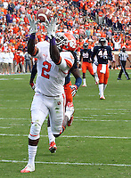 Clemson wide receiver Sammy Watkins (2) hauls in a touchdown pass in the first quarter of the game against Virginia Saturday at Scott Stadium in Charlottesville, VA. Clemson defeated Virginia 59-10.  Photo/Andrew Shurtleff