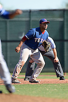 Texas Rangers first baseman Jose Trevino (71) during an Instructional League game against the Cincinnati Reds on October 3, 2014 at Surprise Stadium Training Complex in Surprise, Arizona.  (Mike Janes/Four Seam Images)