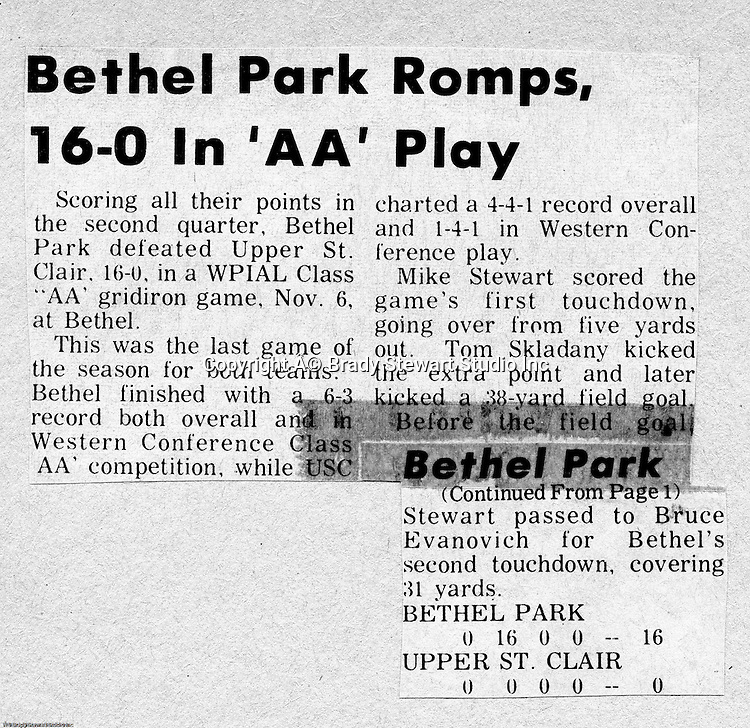 Bethel Park Blackhawks vs Upper St Clair Panthers - 1970.  Upper St Clair was a class A team and was not very good.  We were up 16-0 before QB Mike Stewart was hurt while holding the ball for a field goal.<br /> A punk by the name of Lynn Carson intentionally jumped on Mike Stewart's extended leg to get him out of the game.  At that time, he has thrown for on TD, ran for another and intercepted a pass.