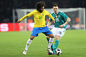 27th March 2018, Olympiastadion, Berlin, Germany; International Football Friendly, Germany versus Brazil; Niklas Sule (Germany) held off by Marcelo (Brazil)