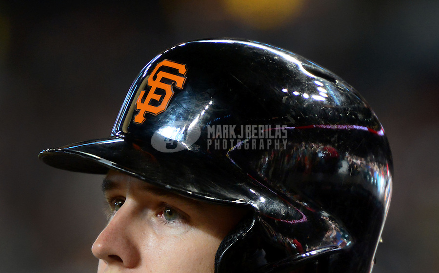 May 12, 2012; Phoenix, AZ, USA; San Francisco Giants catcher Buster Posey waits to bat in the first inning against the Arizona Diamondbacks at Chase Field. Mandatory Credit: Mark J. Rebilas-
