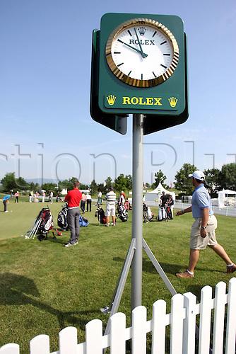 03.06.2008  The Rolex title sponsor clock shown at the Time Bank Austria Golf Open 2008, PGA European Tour,  Fontana golf course in Oberwaltersdorf  Austria Golf Open