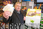 John O'Donoghue, Killarney, pictured as he celebrated his second big win on Winning Streak in three and a half years, in Hegartys Supermarket, Park Road, Killarney, where he purchased the ticket....... ..........................
