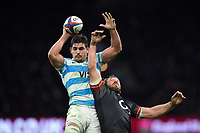 Pablo Matera of Argentina wins the ball at a lineout. Old Mutual Wealth Series International match between England and Argentina on November 11, 2017 at Twickenham Stadium in London, England. Photo by: Patrick Khachfe / Onside Images