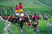 PROCESSION to JAGLUNG MONASTERY at a Tibetan Buddhist FESTIVAL in the DO TARAP VALLEY - DOLPO DISTRICT, NEPAL