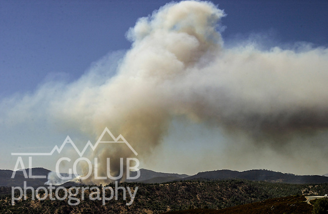 August 18, 2001 Coulterville, California  -- Creek Fire – View of Creek Fire from Greeley Hill Road.  The Creek Fire burned 11,500 acres between Highway 49 and Priest-Coulterville Road a few miles north of Coulterville, California.