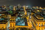 Havana, Cuba: Elevated view of Old Havana buildings at night