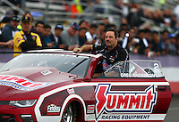 Feb 10, 2017; Pomona, CA, USA; NHRA pro stock driver Greg Anderson during qualifying for the Winternationals at Auto Club Raceway at Pomona. Mandatory Credit: Mark J. Rebilas-USA TODAY Sports