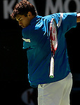 Mario Ancic of Croatia hurls his racquet in disgust after missing a point during his match against Marat Safin of Russia at the Australian Open. Safin won the match 6-4 3-6 6-3 6-4. -  pic by Trevor Collens