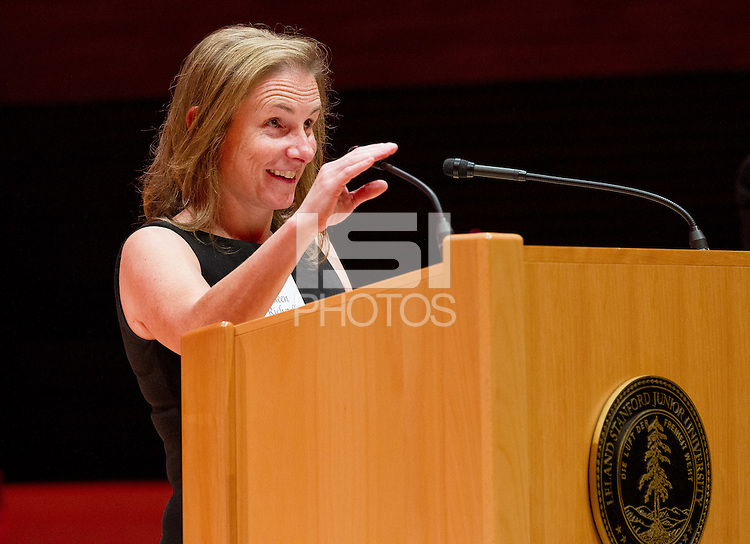 STANFORD, CA - OCTOBER 16, 2015—Ellen Richetelli Crozier, presents Rick Schavone, into the 2015 Stanford Athletics Hall of Fame Induction Ceremony at the Bing Concert Hall .