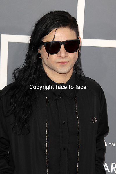 Skrillex at the 55th Annual GRAMMY Awards at Staples Center in Los Angeles, California, 10.02.2013...Credit: MediaPunch/face to face..- Germany, Austria, Switzerland, Eastern Europe, Australia, UK, USA, Taiwan, Singapore, China, Malaysia and Thailand rights only -